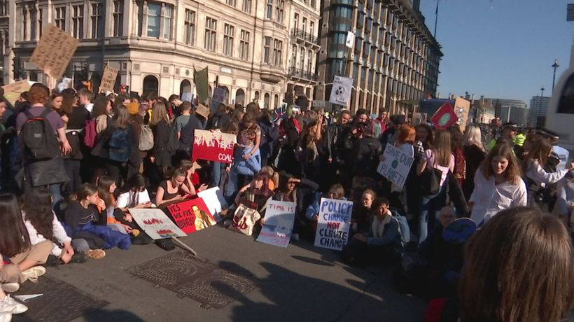 Kids climate protest blocks off Parliament Square