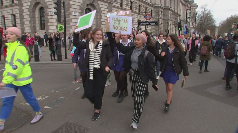 Student climate protest in Westminster