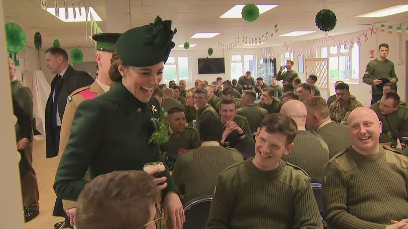 Prince William and Kate drink Guinness with Irish Guard for St Patrick's day