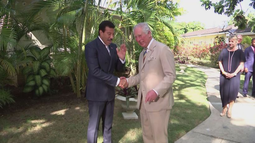 Prince Charles meets Lionel Richie and Tom Jones in Barbados