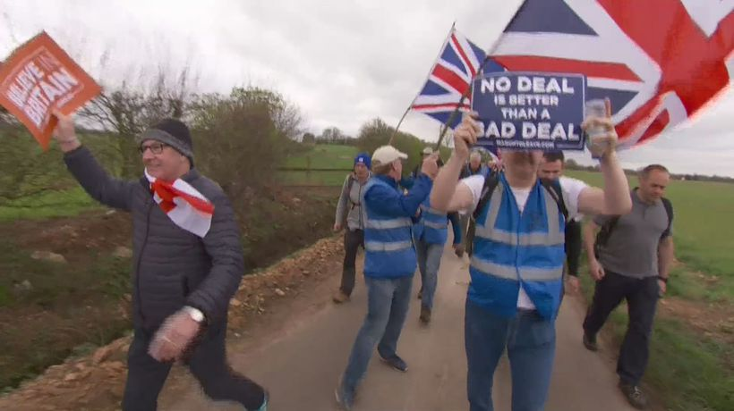 Leave marchers react to Brexit extension