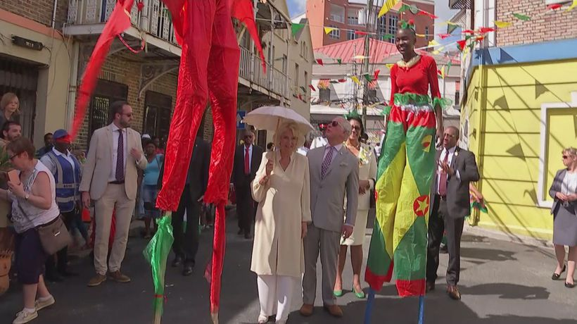 Prince Charles and Camilla enjoy street party in Grenada