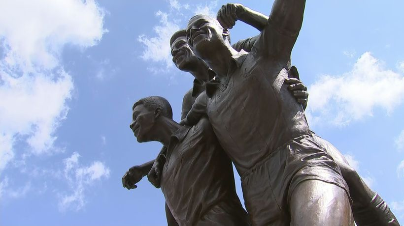 Statue unveiled to commemorate iconic black footballers