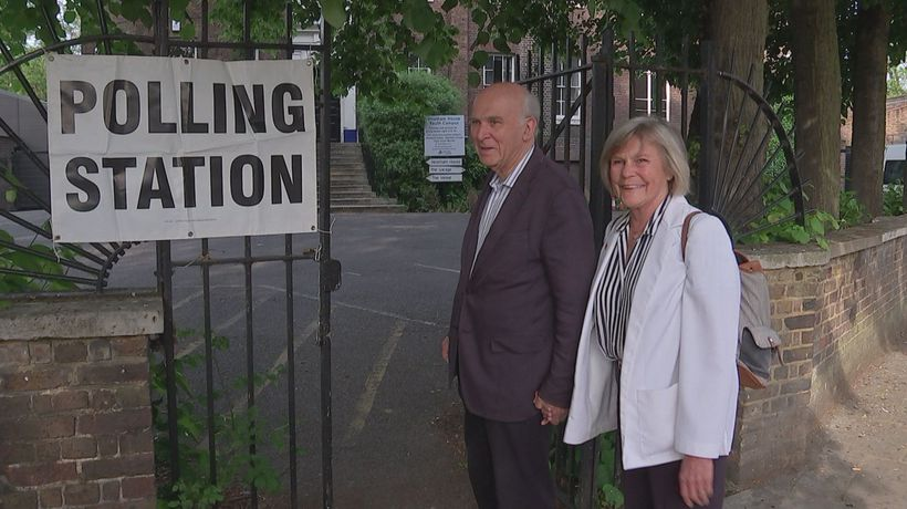 Vince Cable casts vote in European election