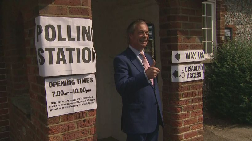 Nigel Farage casts vote in European election