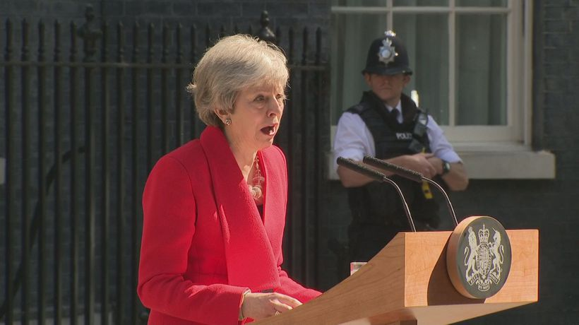 Tearful May announces she will step down on June 7th