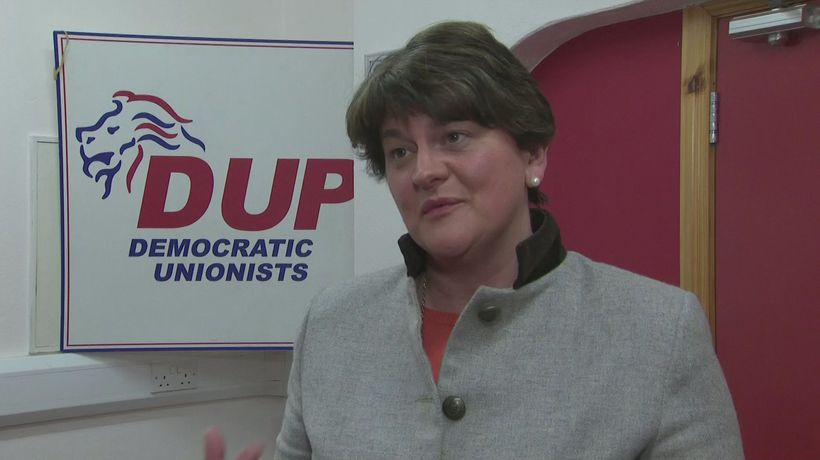 Arlene Foster reacts to Theresa May's resignation