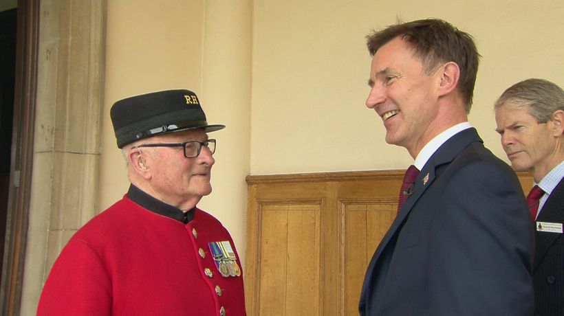 Jeremy Hunt meets Chelsea pensioners including BGT winner