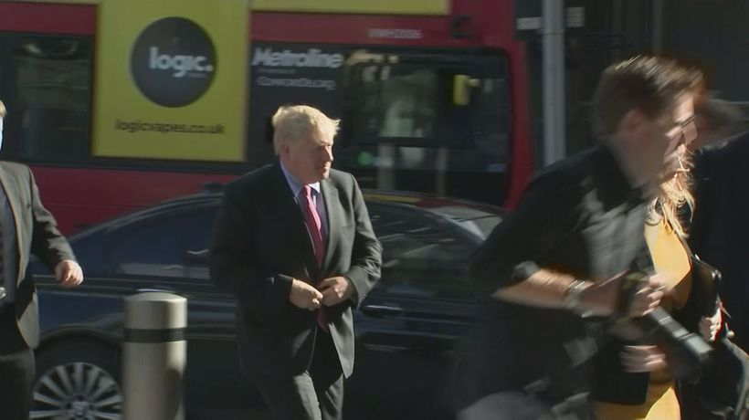 Boris Johnson arrives for final leadership debate