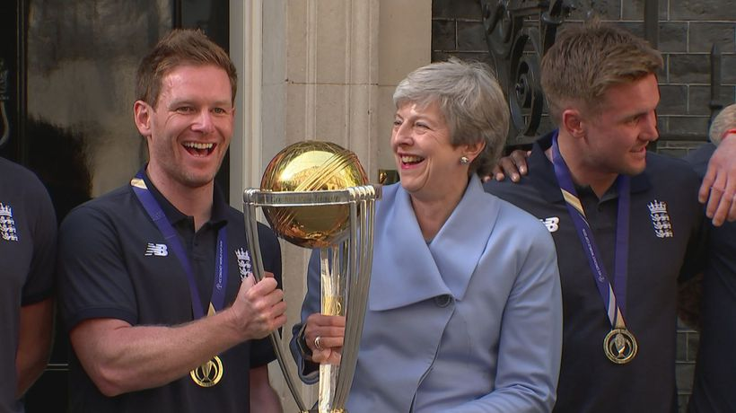 Theresa May welcomes England cricket heroes to Downing St