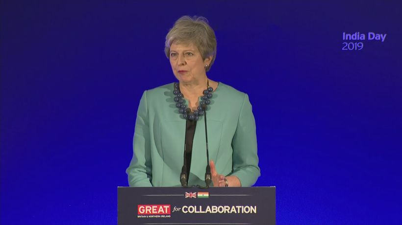 Prime Minister Theresa May jokes about cricket during speech