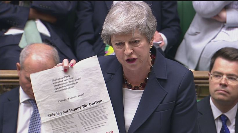 PMQs: May challenges Corbyn over anti-Semitism