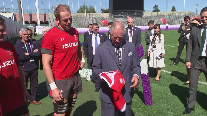Prince Charles meets the Welsh rugby union squad in Japan