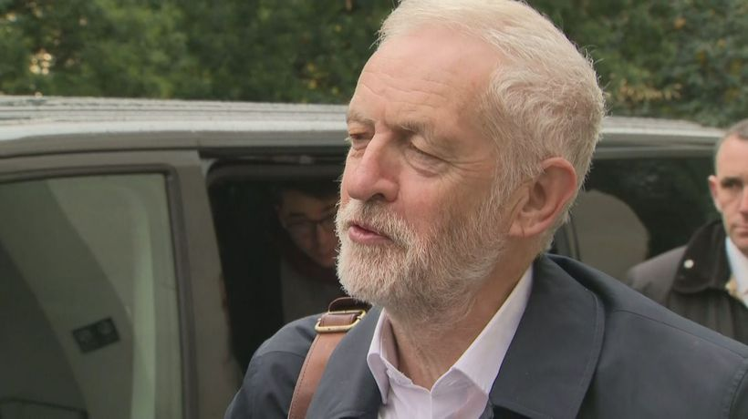 Jeremy Corbyn arrives to approve Labour manifesto