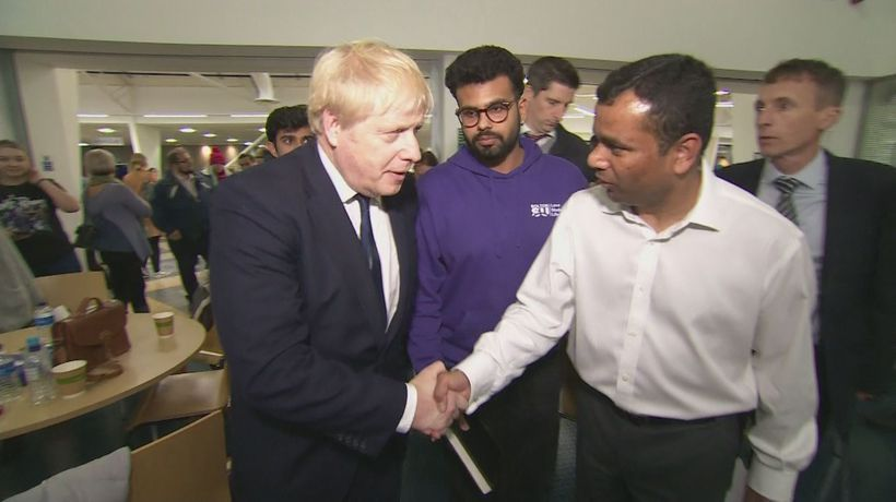 Boris Johnson visits Bolton University after fire