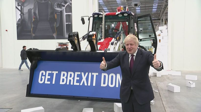 Boris Johnson drives JCB through 'wall'