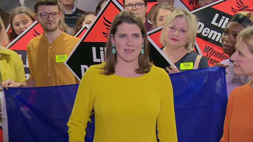 Jo Swinson greets Lib Dem supporters in Bath