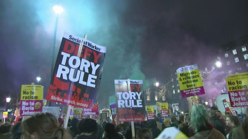 Evening protests on Whitehall after Boris Johnson wins