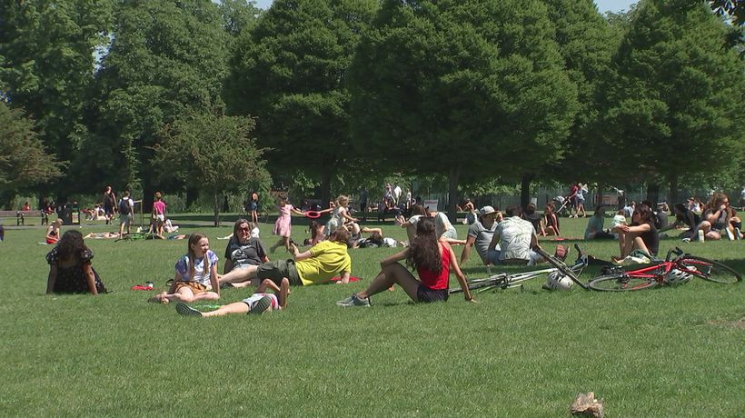People take to local parks as good weather continues