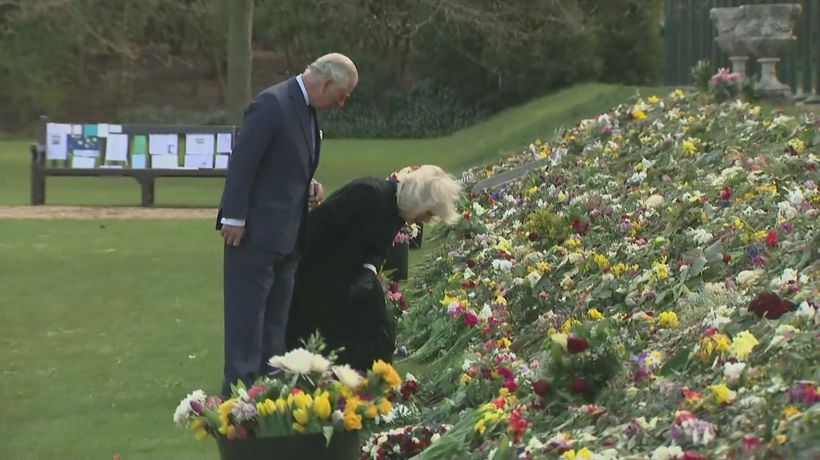 Charles and Camilla view sea of tributes for Prince Philip