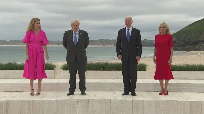 G7 leaders meet Boris and Carrie Johnson at Carbis Bay