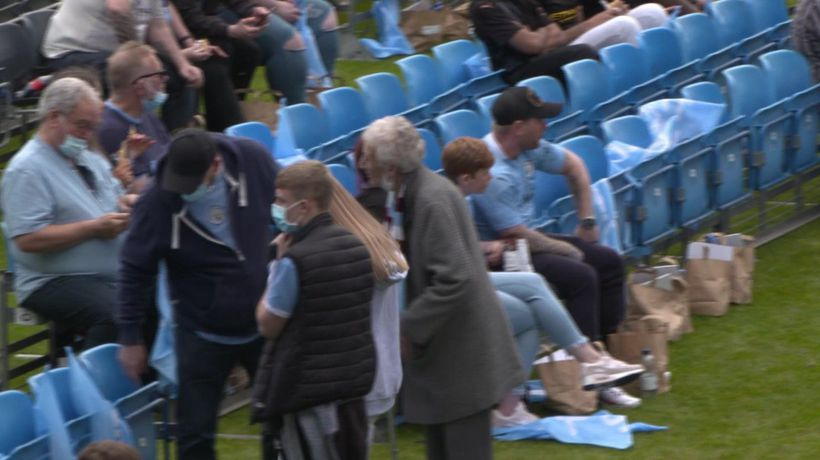 City fans arriving at Academy for Champions League final