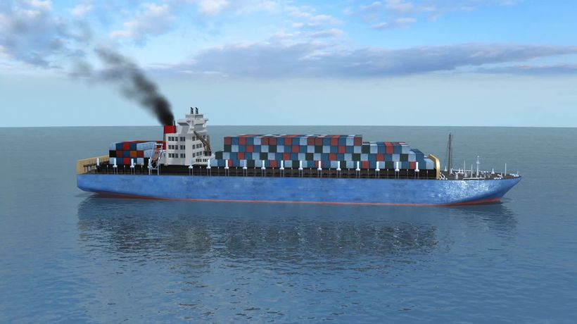 Exhaust fumes from container ships influence cloud composition and reflect solar radiation