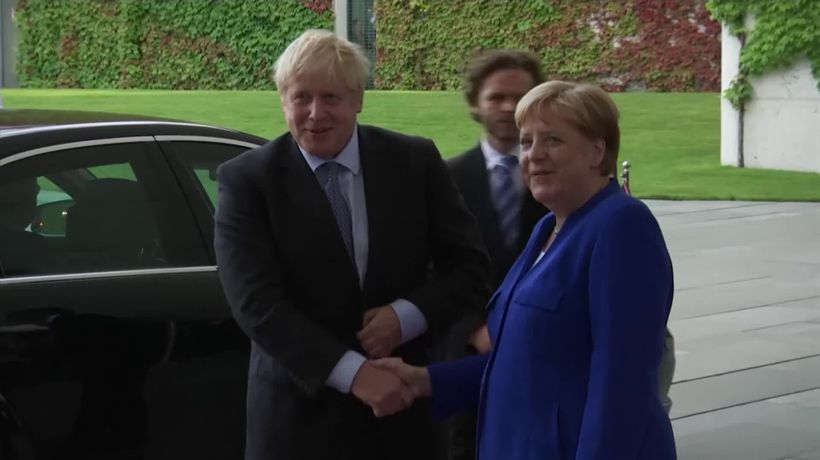 German Chancellor Angela Merkel welcomes UK Prime Minister Boris Johnson