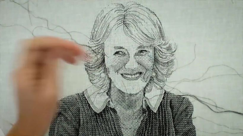 See Camilla's special hand-embroidered portrait