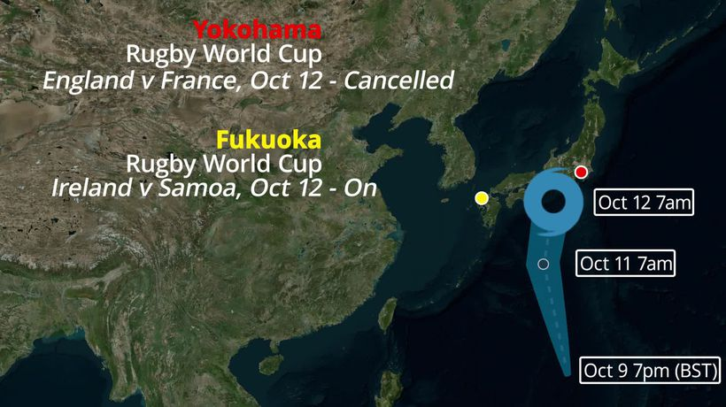 Super Typhoon Hagibis map: England v France cancelled