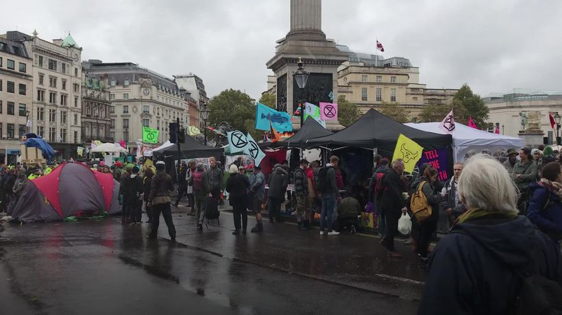 Extinction Rebellion protesters removed from Trafalgar Square