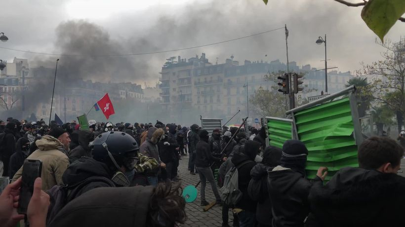 Rioters burn cars and throw rocks on anniversary of 'yellow vest' demonstrations