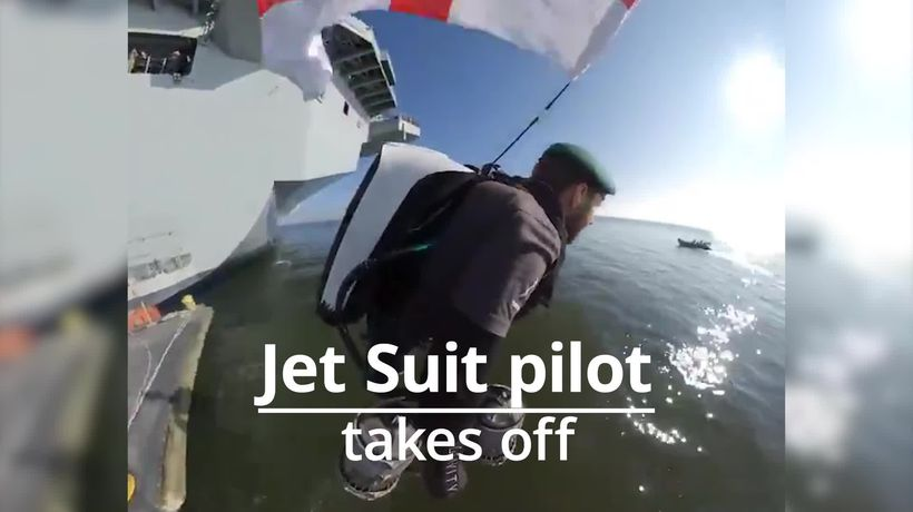 Jet Suit inventor takes off from HMS Queen Elizabeth