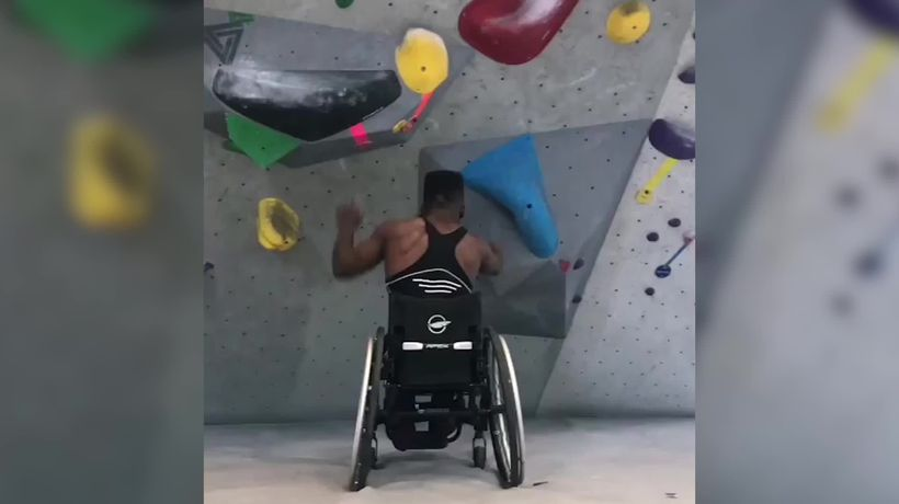 Student goes viral for wheelchair climbing video