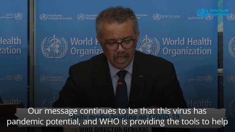 World Health Organisation: Coronavirus has pandemic potential