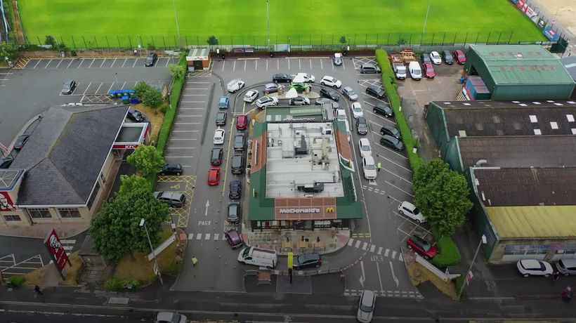 McDonald's drive-thru queues from the air
