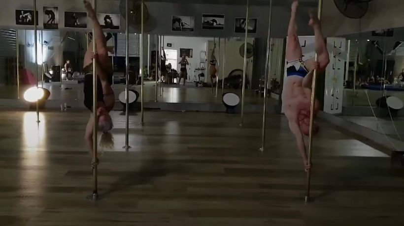 The dynamic mother and son pole dancing duo