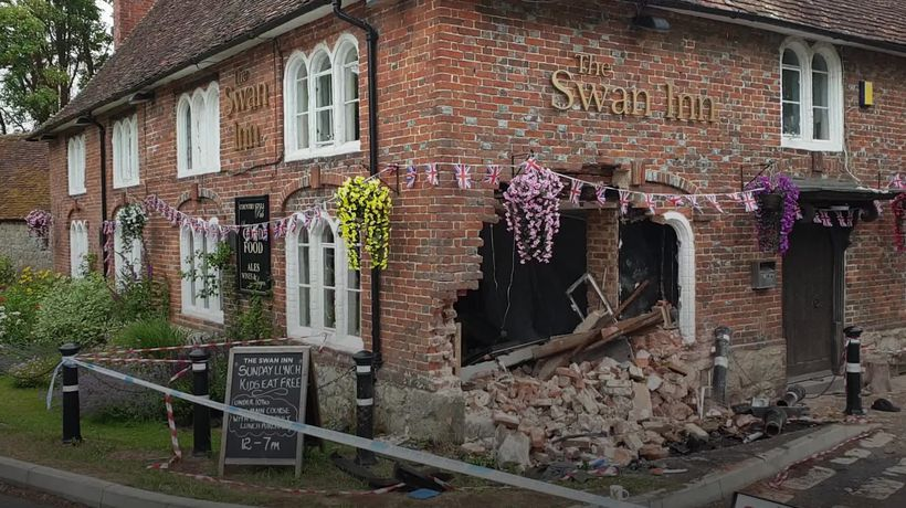 Pub manages to open despite car crashing into front