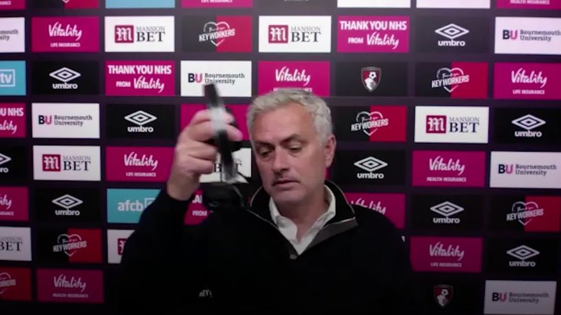 Jose Mourinho walks out after getting frustrated with technical difficulties with the virtual post-m