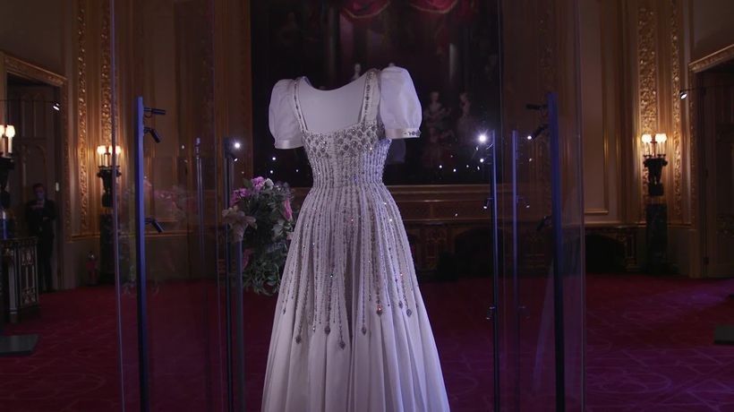 Princess Beatrice's wedding dress borrowed from the Queen goes on display
