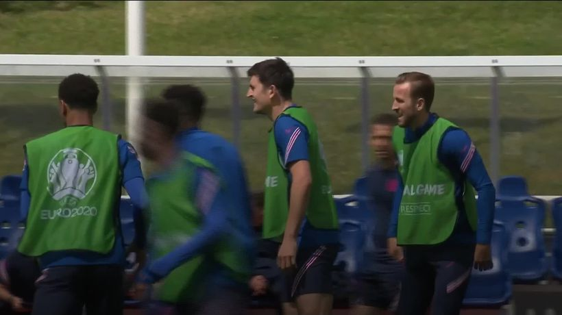 Harry Maguire takes part in England training ahead of Euro 2020 opener