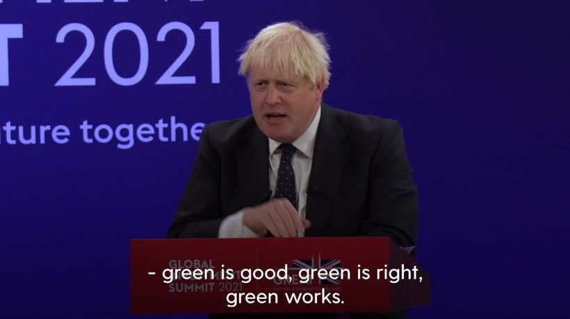 Green is good, Johnson tells investors as he urges them to back UK plans