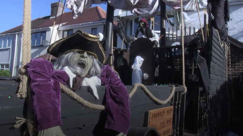 Man builds giant Halloween pirate ship in his front garden