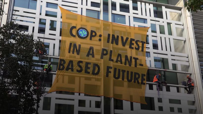 Activists scale Defra building in call for meat and dairy farm subsidies to end