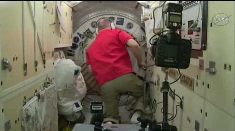 Hatch closes as astronauts depart from International Space Station
