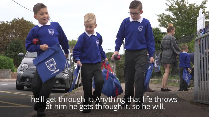 Boy with rare condition starts first day in primary school