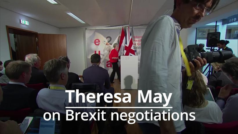 Theresa May stands by Brexit plan in Salzburg