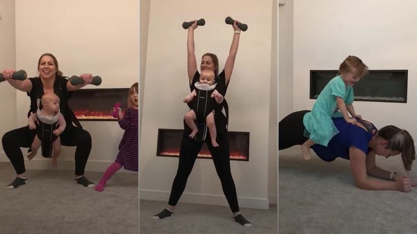 Mum uses baby as human dumbbell to shed the pounds