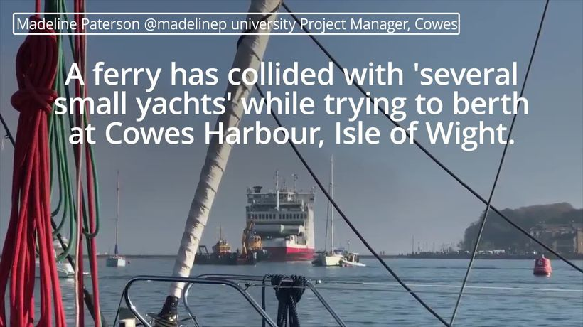 Ferry collides with yachts on Isle of Wight