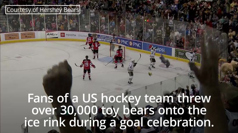 Hockey fans throw over 30,000 toy bears during goal celebration